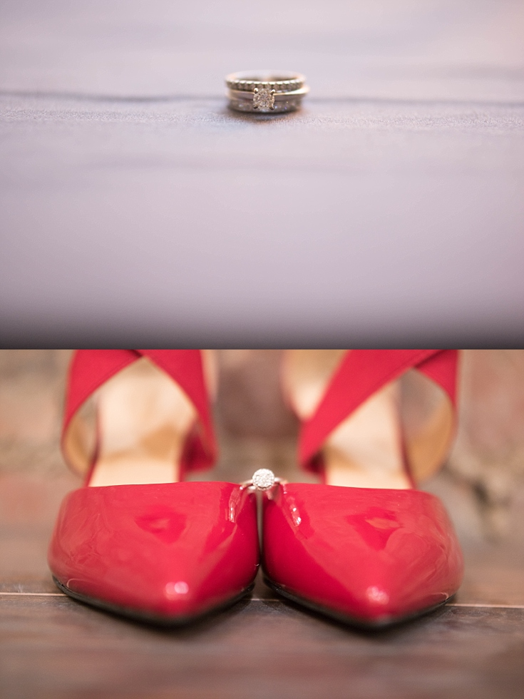 Beautiful shots of the ring on the bride's shoes, and stacked with her wedding bands.