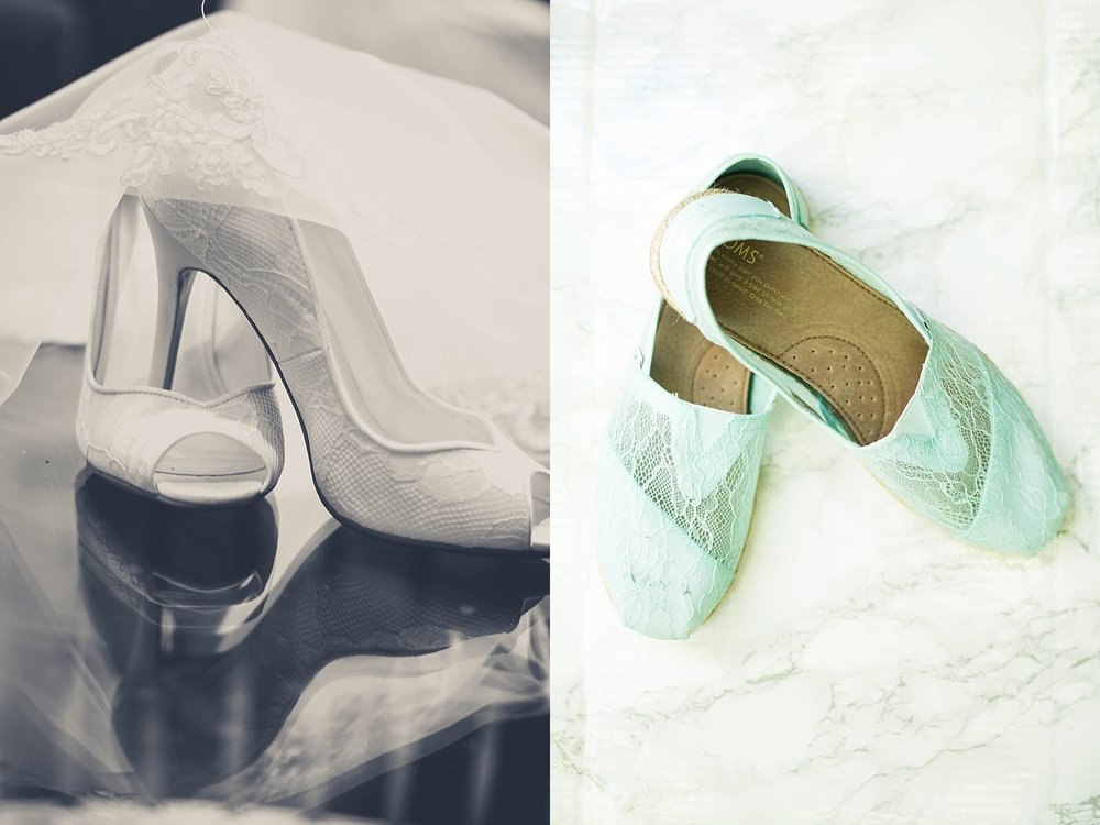 Beautiful white lace heels, and teal lace toms.