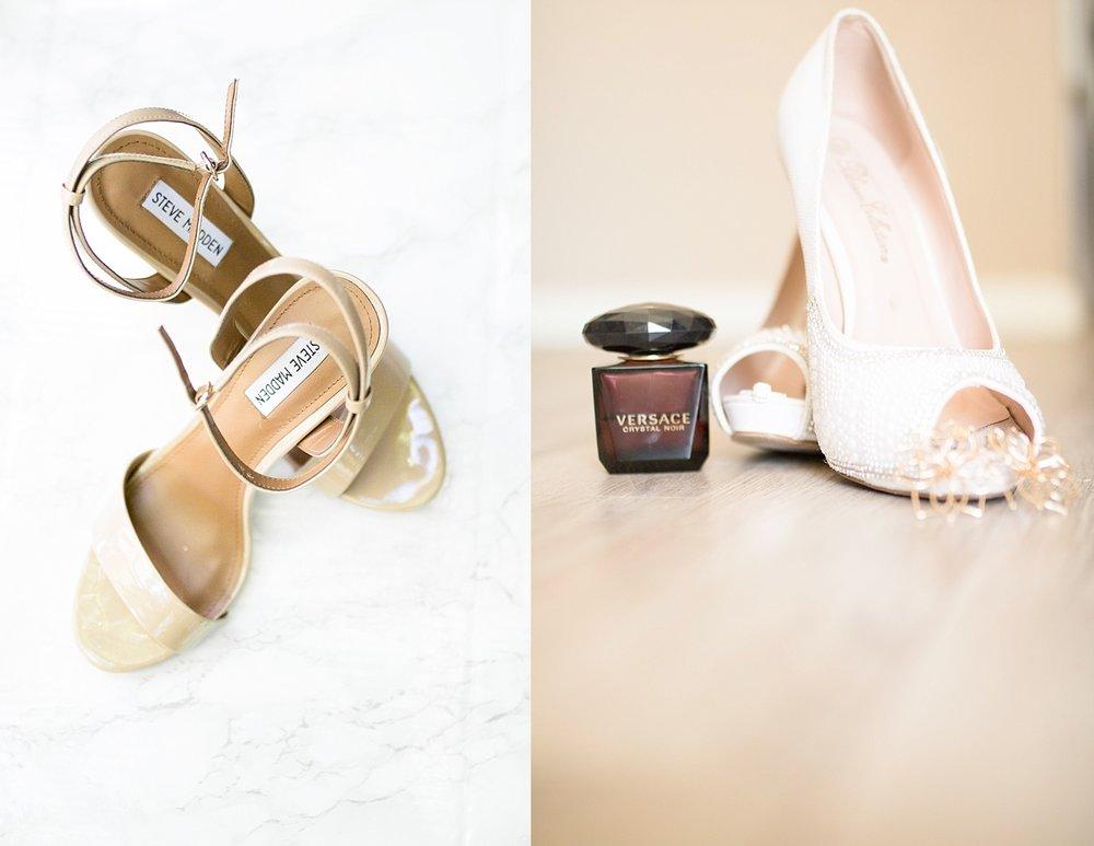 Tan Steve Madden heels, and beautiful white pearl heels.