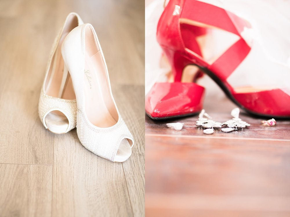 White glam heels, and sleek red bandage heels.