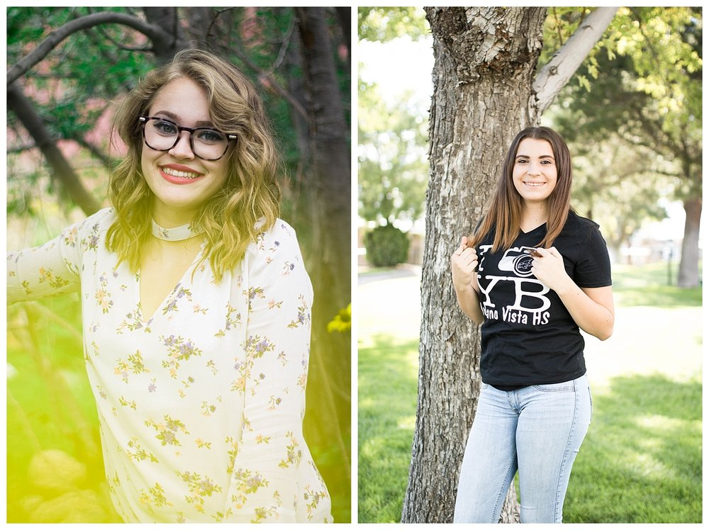 Beautiful green trees with yellow flower petal to give some color, and beautiful park session with the editor of the Volcano Vista yearbook.