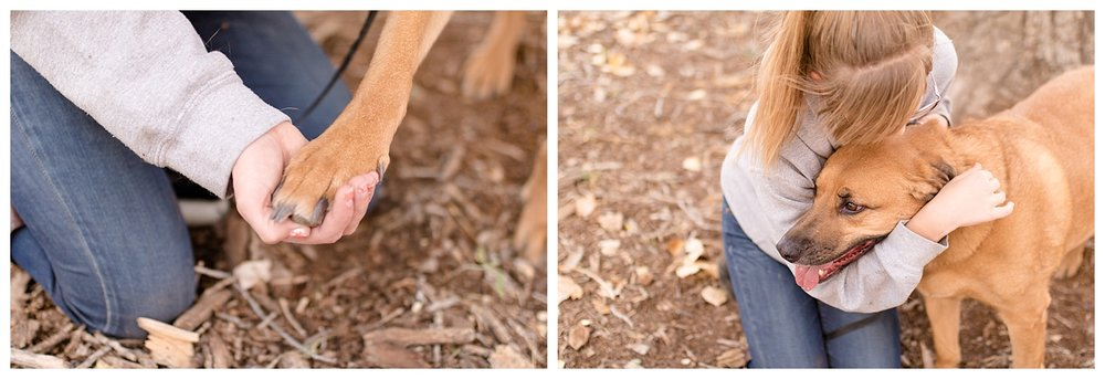 Beautiful cozy fall session in the bosque with her pup.