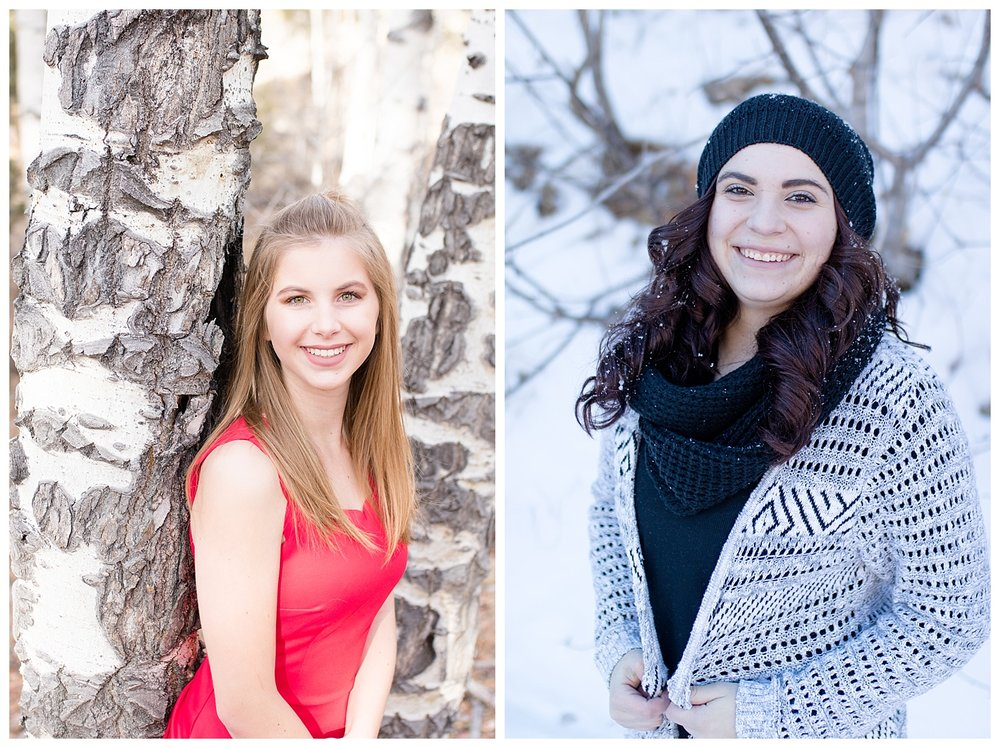 Beautiful session in a red dress in the woods of Colorado, and a snow filled session in the Sandia Mountains.