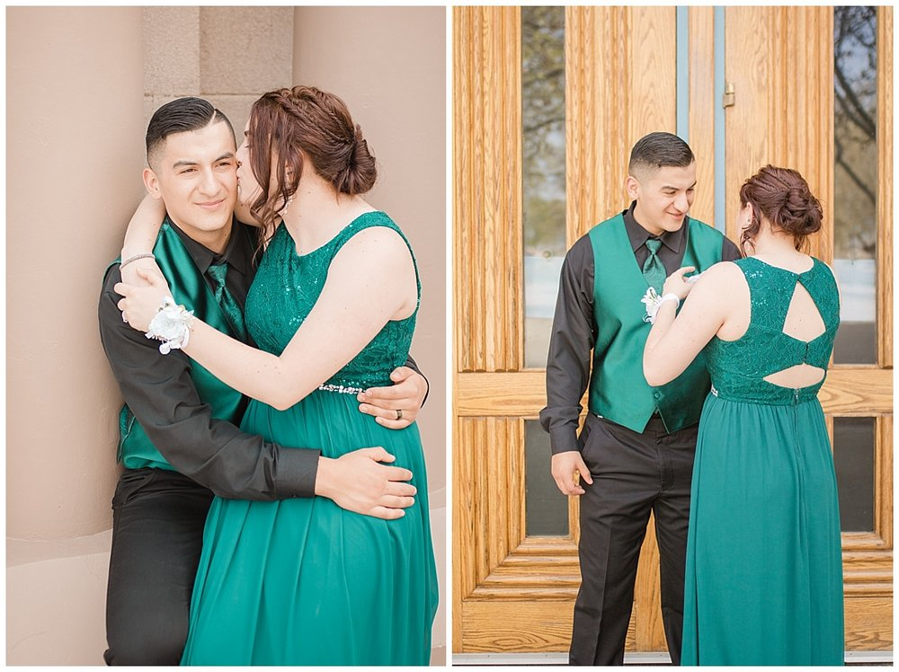 Cheek kisses, and putting on the boutonniere, wooden doors, and pillars.