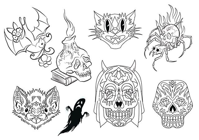 Last but not least Darren Halls Halloween sheet!!! Special Halloween prices til the end of the month!! #risingtidetattoo #tibetantattoo #americantraditional #japanesetattoo #traditionaltattoo #halloweentattoo #halloween #spooky #bouldertattoo #coloradotattoo #303