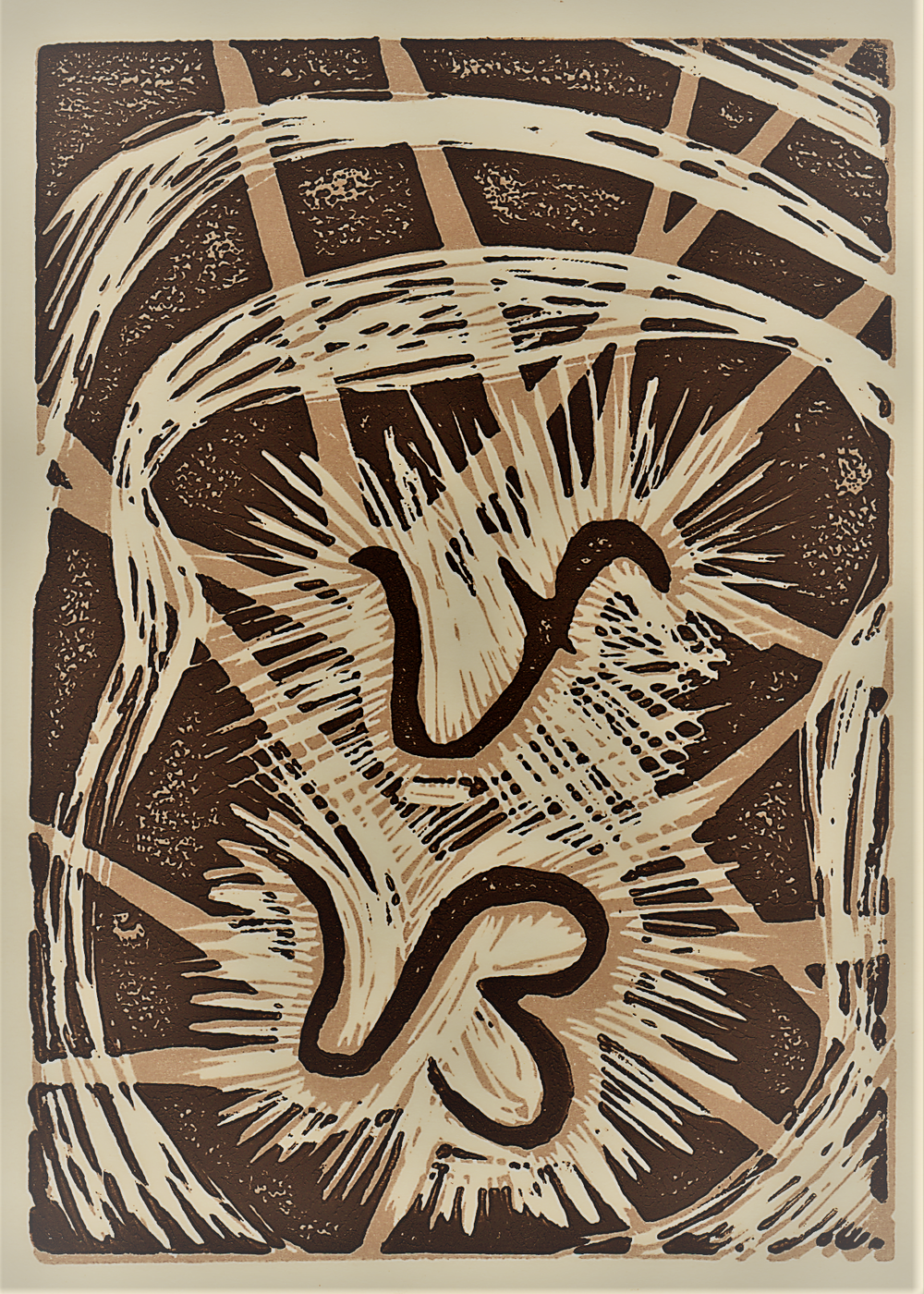 Puso/Heart, written in Baybayin, a Tagalog pre-colonial script, block print 2017