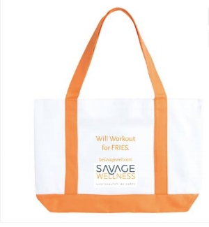 """Order your S.Well Gym Bag - """"Will Workout for Fries"""" $20"""