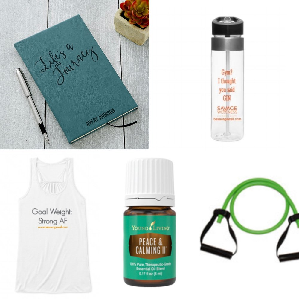 "Get a head start on your wellness with your own daily inspiration journal, a S.Well workout shirt, a S.Well Water Bottle to show your priorities, ""Gym?! I thought you said GIN!"", some calming essential oils and a resistance band to up your strength work game!"