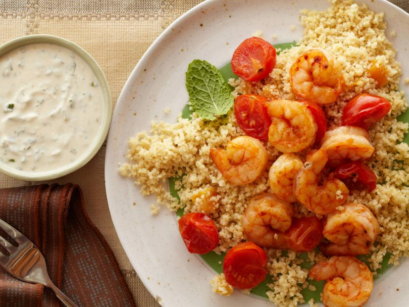 20 Minute Shrimp and CousCous with Yogurt Hummus Sauce