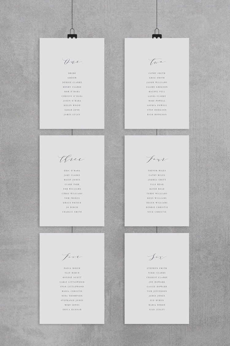 Table Plan Cards