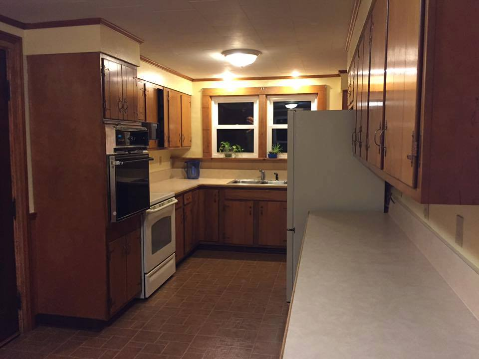 Kitchen counters, cabinets and appliances, before.