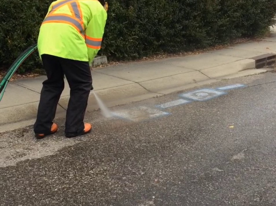 Parking Lots & Sidewalks - Sandblasting and Dustless Blasting - Line stripe removal