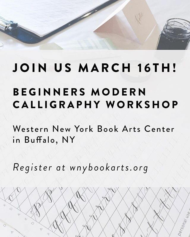 Who's ready to learn calligraphy?! The hardest part is getting started and getting over that big learning curve. In-person workshops are highly requested and for good reason - there's no better way to learn the art of pointed pen calligraphy.  That said, I'm so excited to head back to @wnybookartscenter for another calligraphy workshop this weekend! We still have a few spots open, so head to the link in my bio to register. No experience required! 🖋