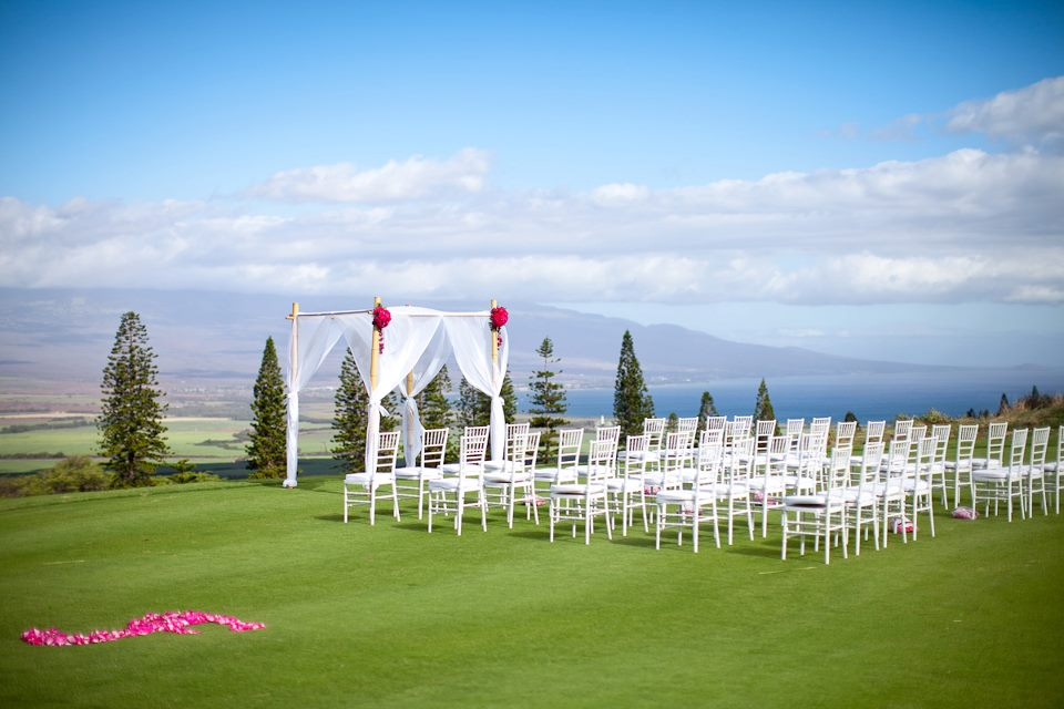 Kahalawai Terrace is one of our beloved outdoor ceremony locations. It features the most spectacular views, as far as the eye can see. You'll feel as though you're on top of the world. It's private setting, overlooking Haleakala and both the north and south shores, makes it the perfect place to join in matrimony.  Capacity 150 Includes up to 40 White Padded Chairs In Conjunction with Reception $800 Cermemony Only $1200