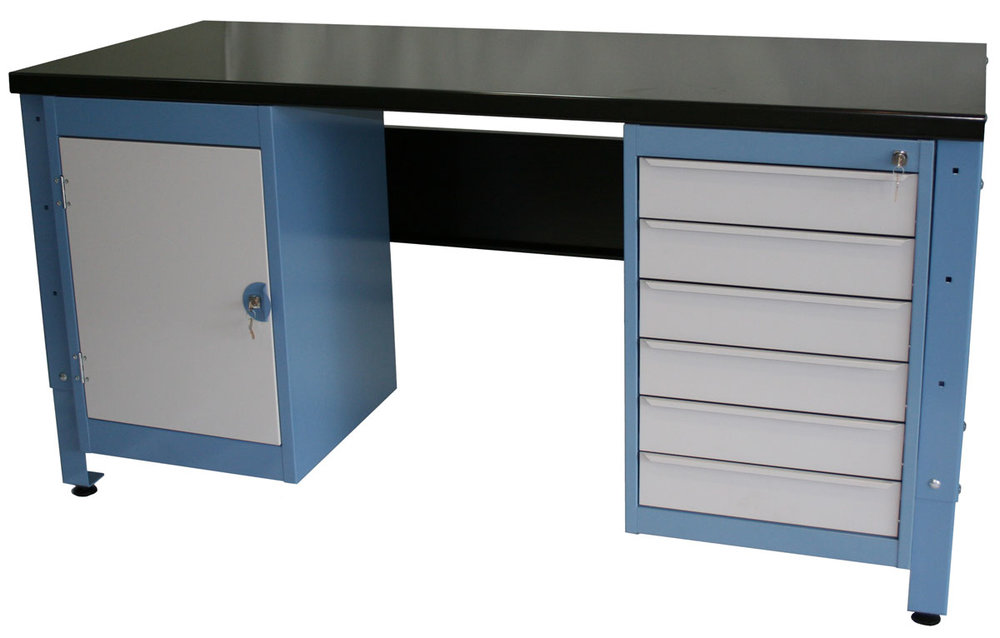 HEAVY DUTY WORKBENCHWITH 6 DRAW UNIT AND CUPBOARD -