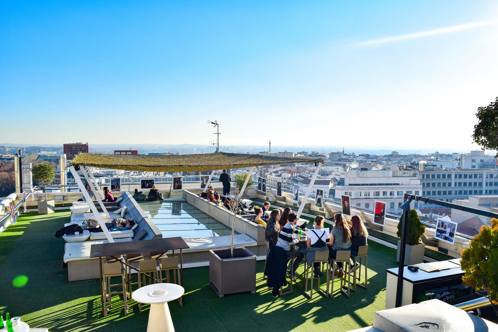 The rooftop of the Circulo de Bellas Artes and the view of Madrid beyond