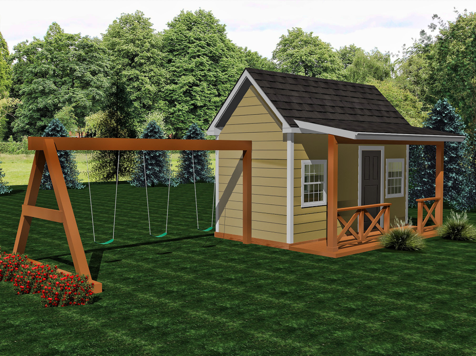 Bungalow with Deck  Buildable Plans - $600  Playhouse Build - $10,500
