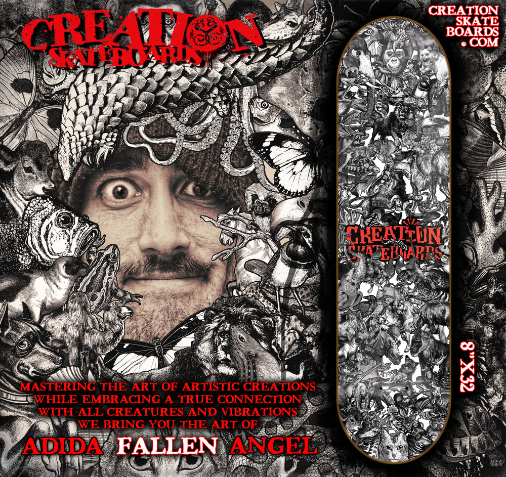 Creation Skateboards.  I am honored and extremely joyful to join in the Creation Skateboard family with my latest sweetest and first ever deck design to go into this years Fall/Winter catalog. Cant wait to ride this baby. Big up Chris Dyer, Creation crew and the Montreal Artistic Buzz to push me forward!