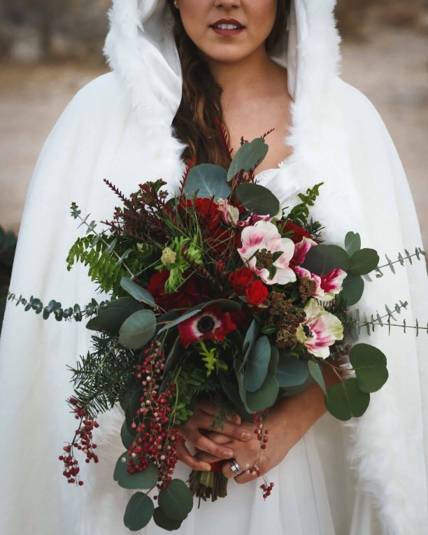 Scandanavian Winter - This Scandinavian winter inspired shoot featured a simplistic white and green palette, and also a second classic Farm House red and white palette.Photo: Rogone PhotographyVenue: Flip Flop RanchDress: Smitten BridalHair: Brush & BladeMUA: Brook Martin