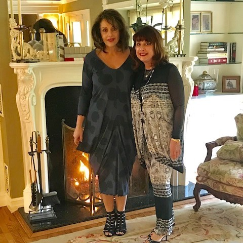 Pat and Paula wearing Giselle Shepatin. Available Now at:  www.giselleshepatin.com #womensclothing #handmadeclothing #localdesigners #style #fashion #ootd #potd #giselleshepatin #madeintheusa #arttowear #wearableart #madeinamerica #fashionista #womenover40 #womenover50 #springfashion #customdesign #couture #californiafashion #style #sffashion #nyfashion