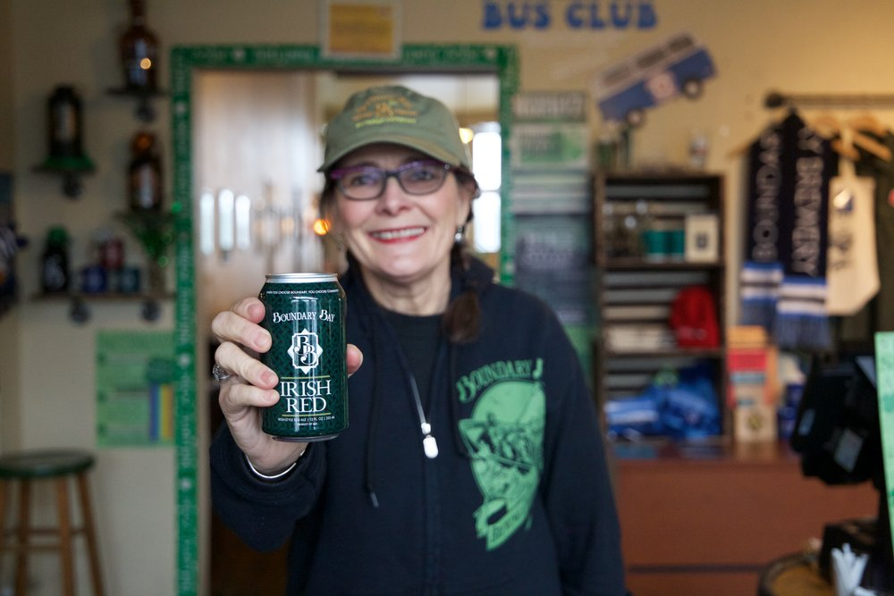 Janet Lightner with the Irish Red can!