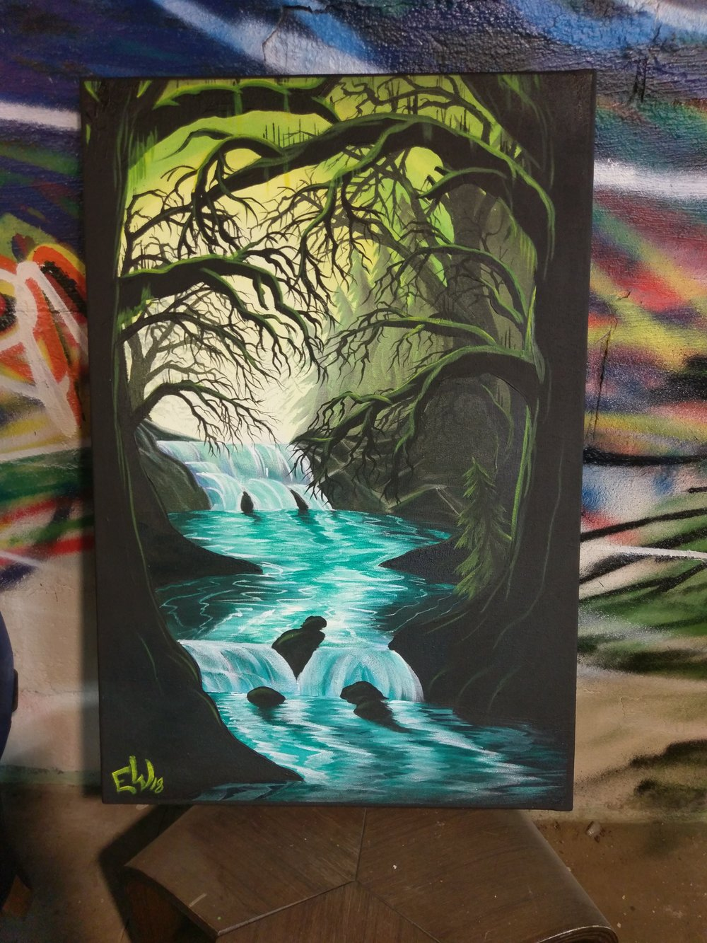 One of Evan's recent paintings. He said that this place came to him in a dream that he felt compelled to paint.