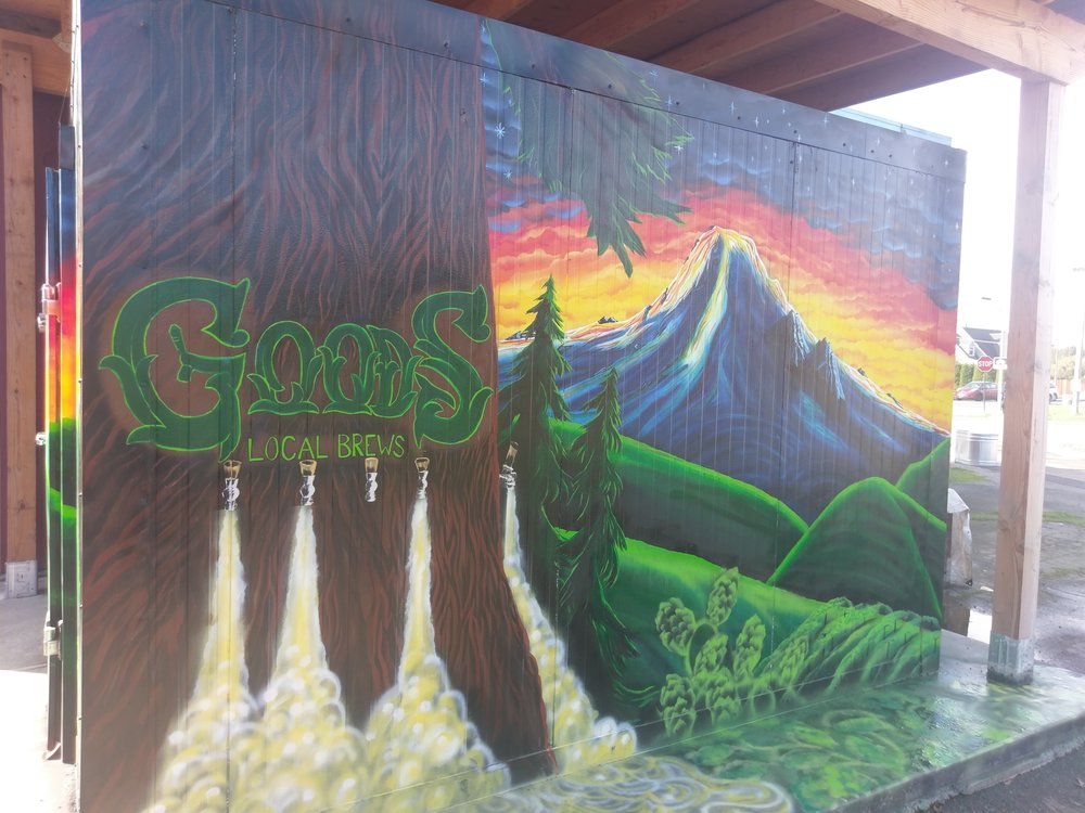 The mural Evan painted at Goods Local Brews.
