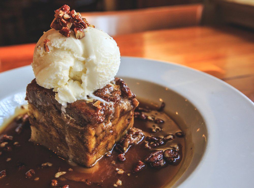 Pumpkin Bread Pudding with Scotch Ale Caramel Reduction