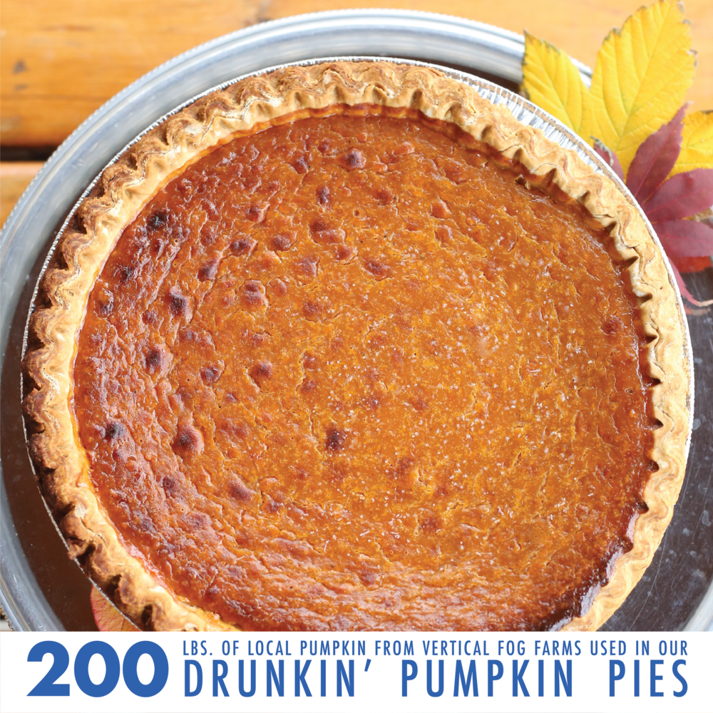 The holiday season brings cheer, beer and, of course, tasty treats. This year, we used 200lbs(!!) of locally-sourced pumpkins in our legendary Drunkin' Pumpkin Pies.