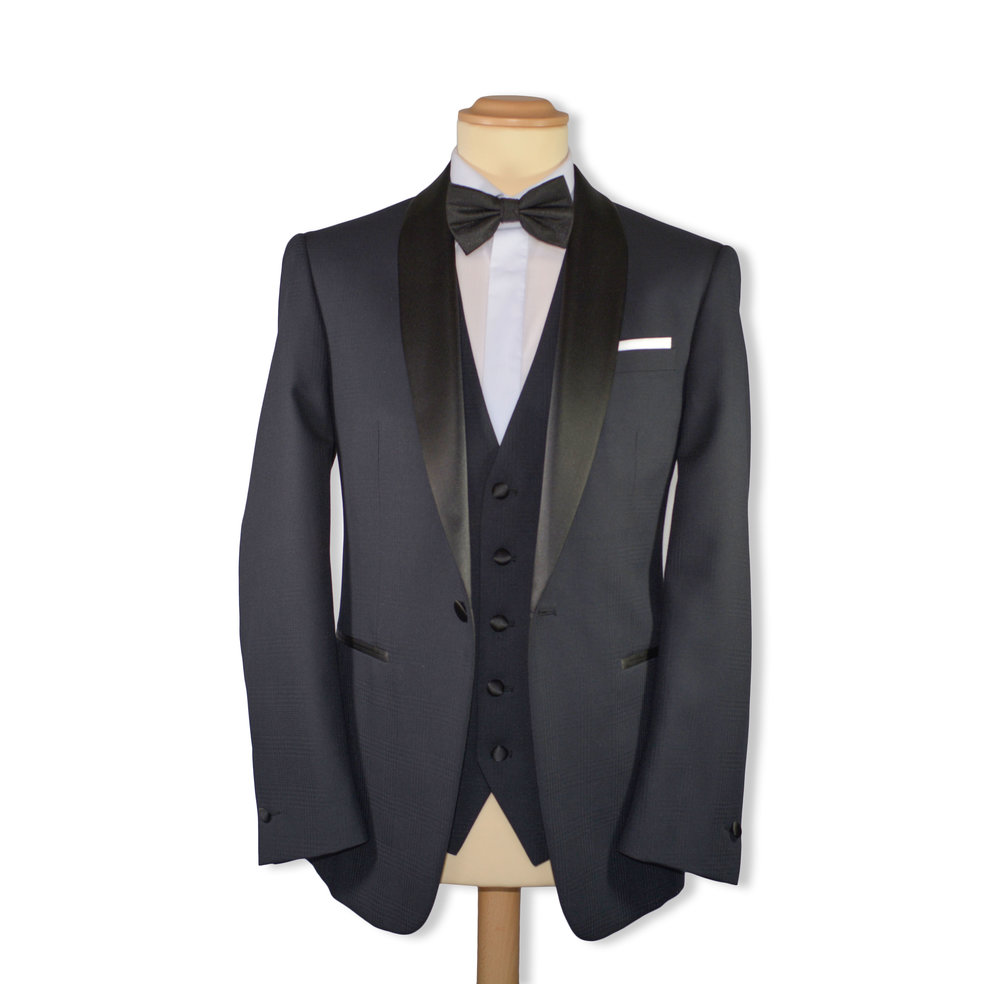 Slim Fit Black Self Check Formal Suit (To Hire or Buy)
