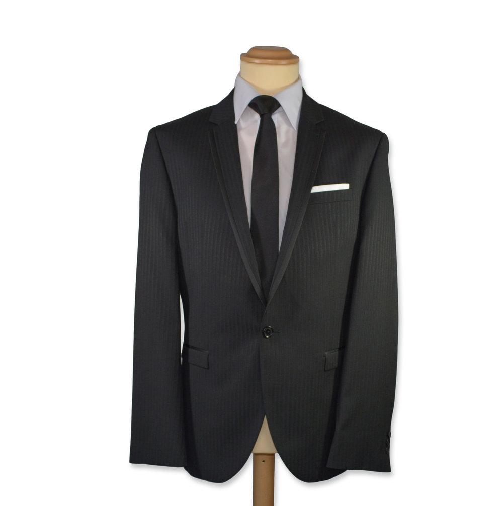 Slim Fit Black Self Stripe Formal Suit (To Hire or Buy)
