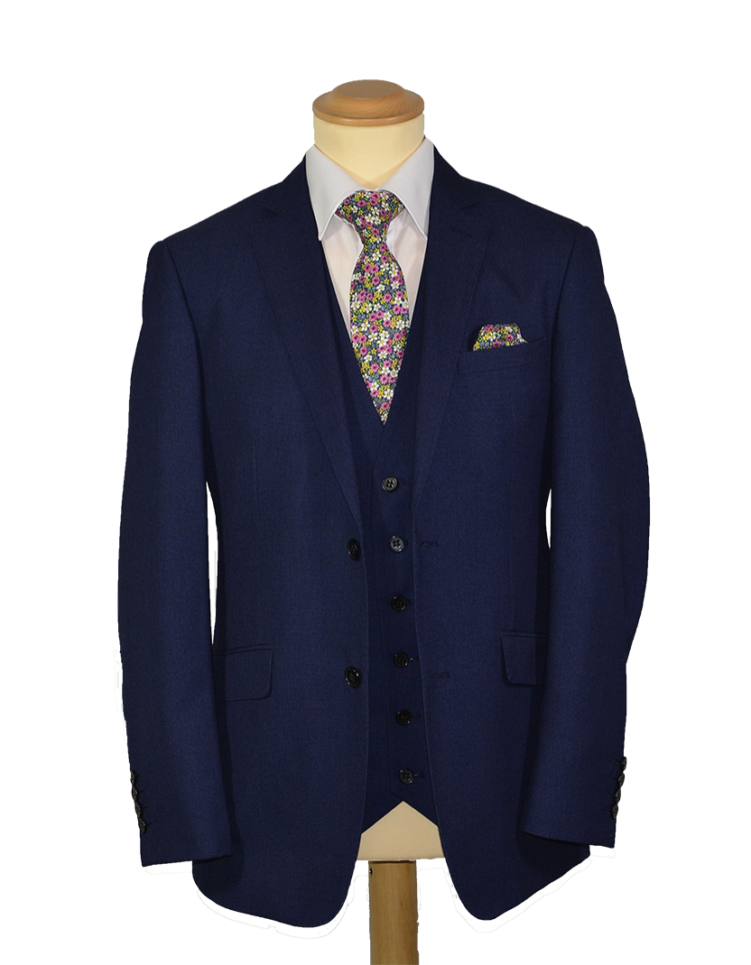 Navy Tweed Effect - Available in scoop and standard waistcoat (To Hire or Buy)
