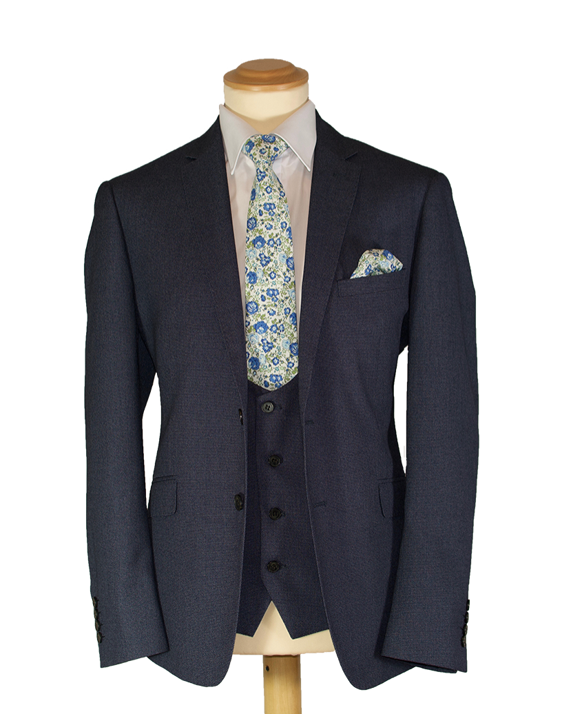 Blue Tweed Effect - Available in scoop and standard waistcoat (To Buy only)