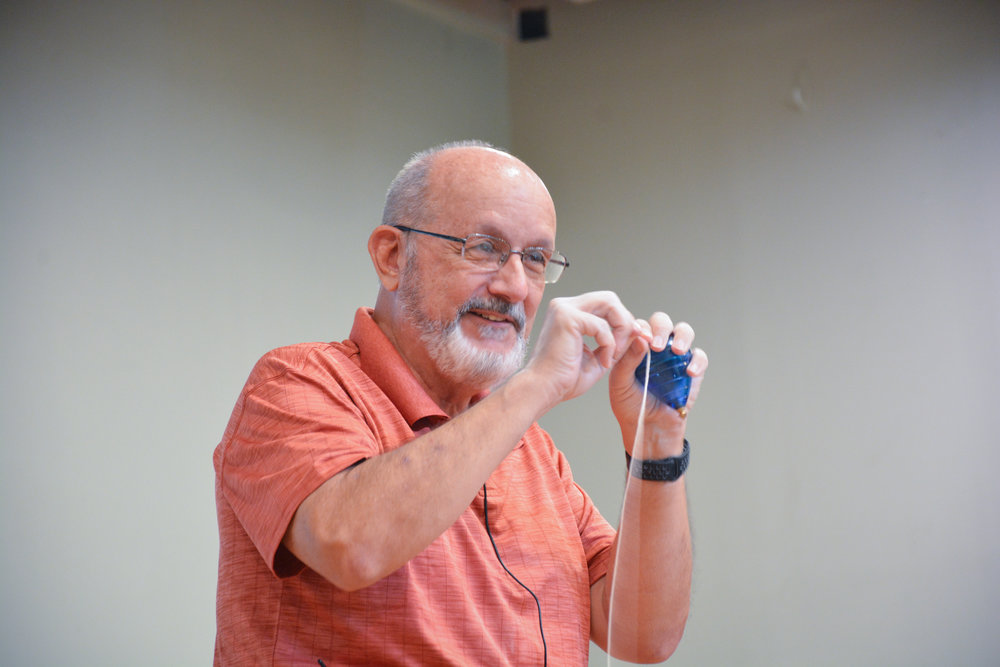 Rev. Joe Mauk - has been using the simple spinning top for more than 30 years to illustrate GOD's word. From his collection of 200 tops, 10 or 12 are normally used in the presentation. each one giving a clear illustration of Biblical truths. His humor, Bible knowledge and concern for the audience combine to give you an entertaining yet thought-provoking experience you won't want to miss