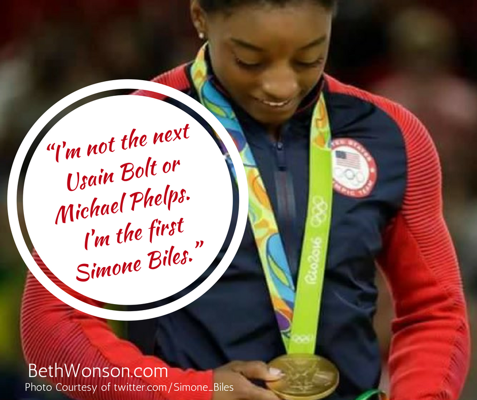 """I'm not the next Usain Bolt or Michael Phelps. I'm the first Simone Biles.""-2"