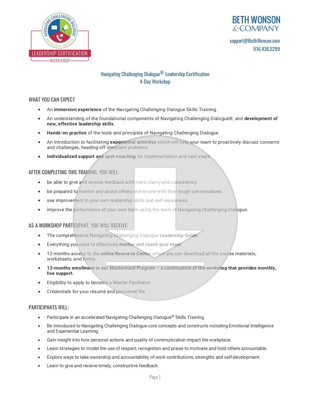 Download the Full Workshop Description