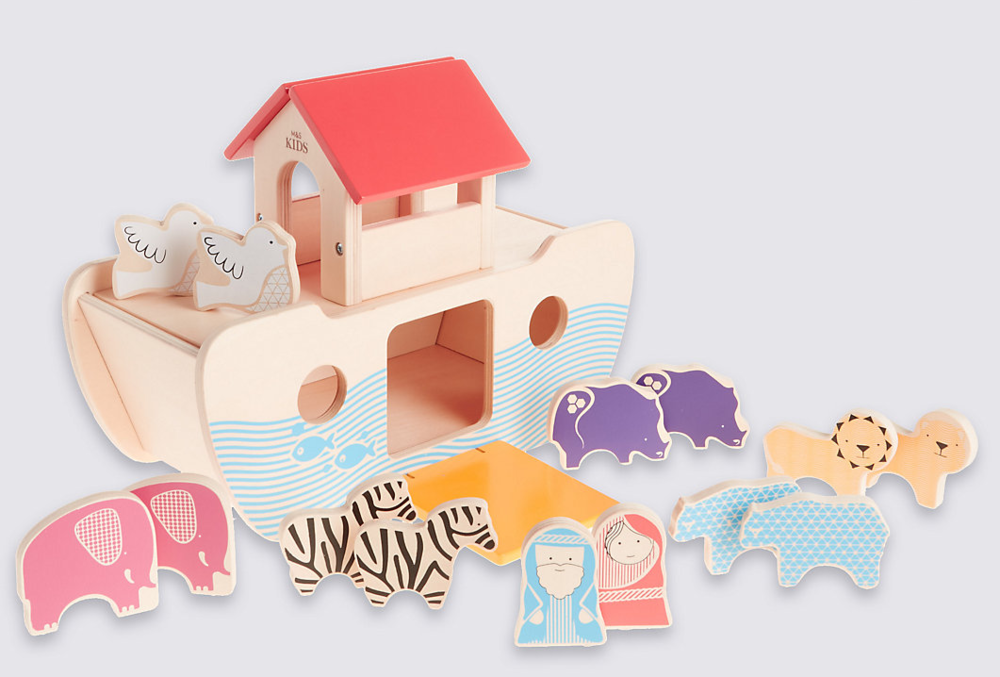 Noah's Ark - I admit I always feel slightly weird about Noah and the fact his wife has no name. But children do love playing with well-made wooden animals, and M&S get extra points for their non-gendered labelling and sustainable practices. Wooden Noah's Ark  £25  Marks and Spencer