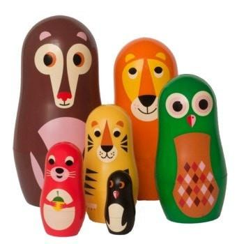 Nesting Dolls - These lovely animals are great for playing 'babies in tummies'. Also, they're excellent to build fine motor skills, for matching and stacking, and are lovely out on display by themselves too. OMM Design nesting animals  £19  Retro Kids