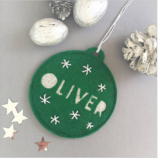 Personalised felt baubles - It's always nice to start a Christmas tradition - hanging your own bauble is a good one to start with. Hand-made in Devon£7Crafty Willow