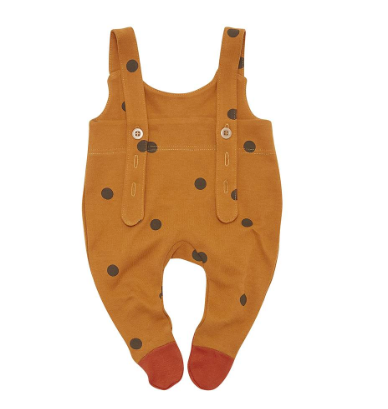 Dungarees - Special Christmas dungarees in mustard polka dots! They're very practical too - poo stains will never show and you don't have to worry about socks falling off.£28Word to the Mother