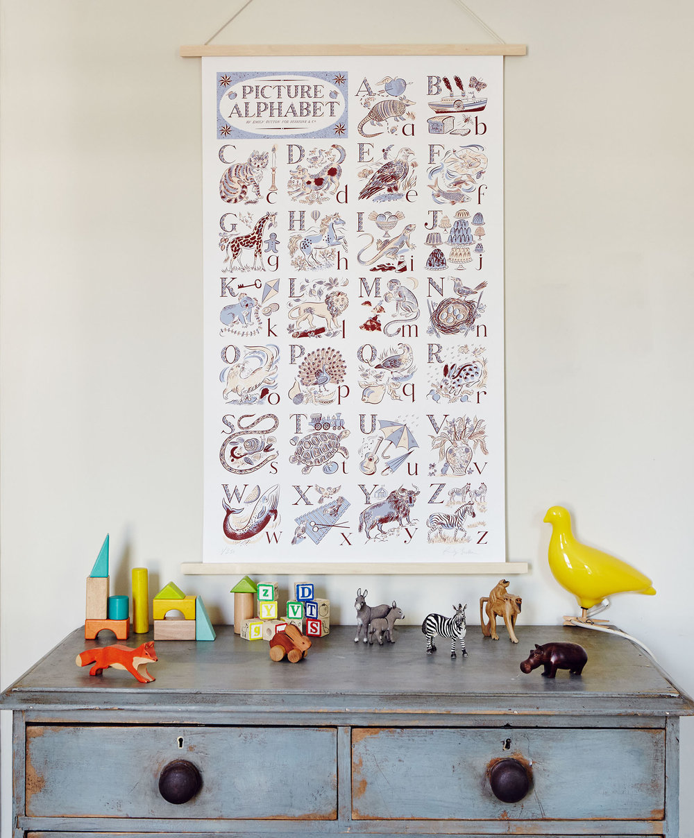 Picture Alphabet - This heirloom print is a lifetime investment, for a child to grow up surrounded by beauty. Full of charming details, it looks as perfect in a nursery as it does in the kitchen.£250Sessions & Co.