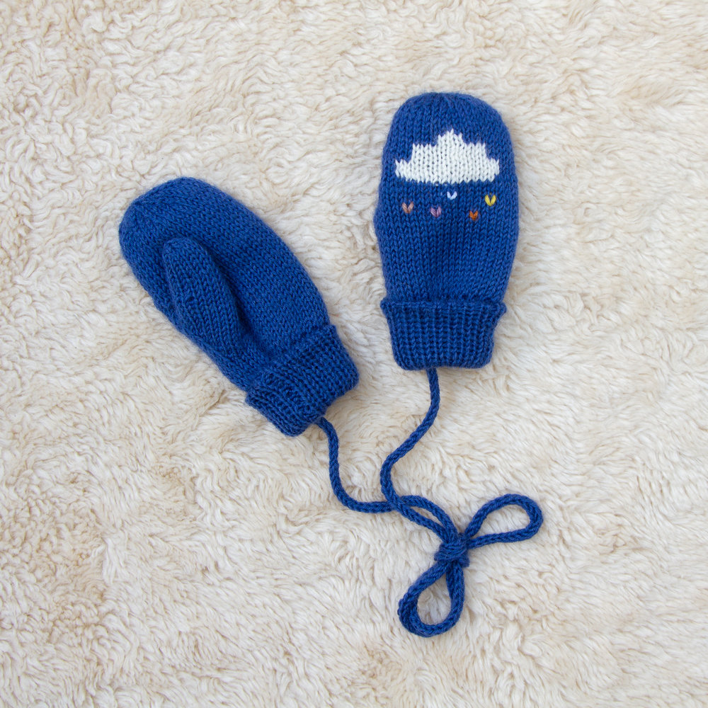Raincloud mittens - Lovely knitted mits with a string so they can't get lost. (Fun fact, as a child, I named stringed mittens Glovingtons. You're welcome.)£28Button and Blue