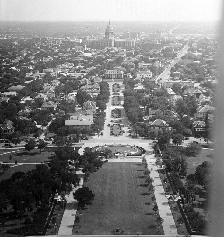 View from the (uncompleted) UT tower looking towards the texas state capitol building, Alexander Architectural Archives, 1936.