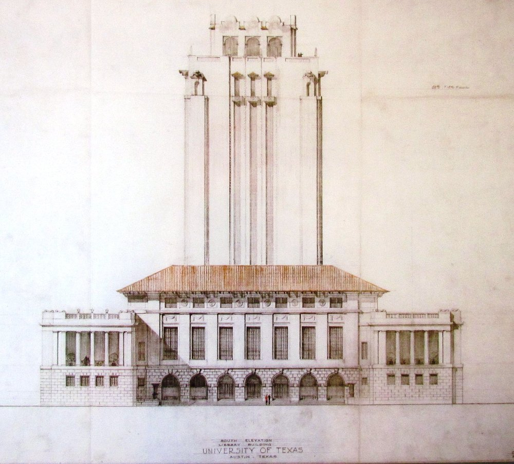 Alternative design of the ut tower, Alexander Architectural Archives.