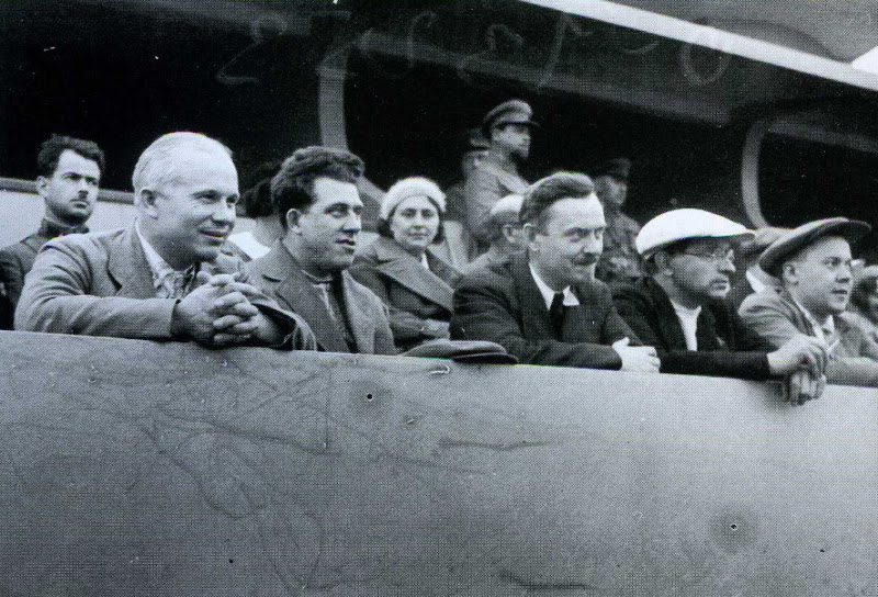 Khrushchev (far left) enjoying a football match. 1935.