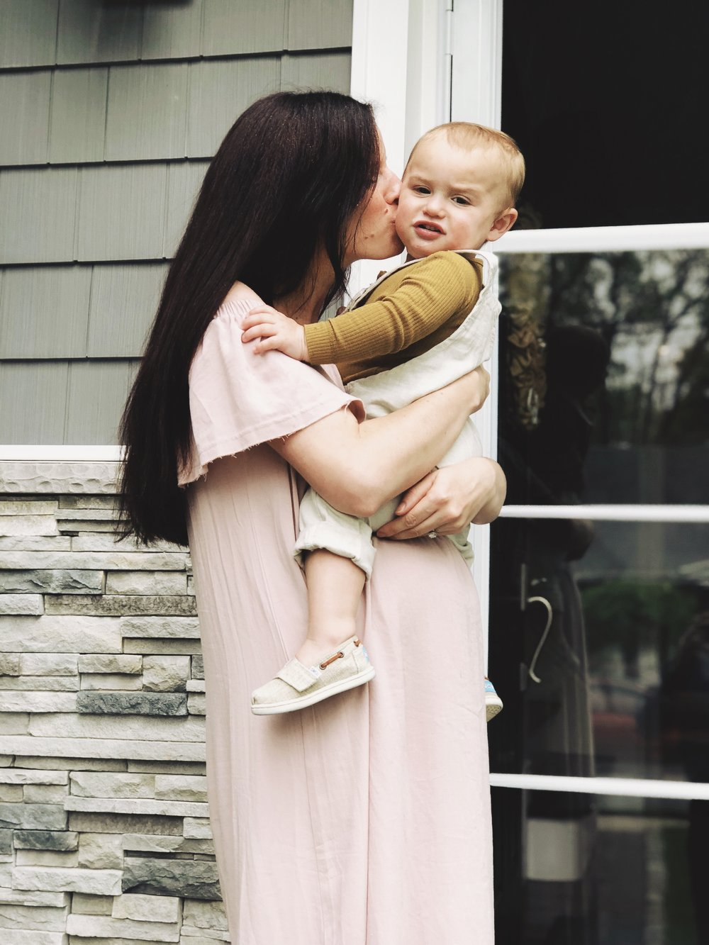 Dress is from  Pink Blush , Logan's overalls are  Zara Baby , long sleeve is  Jamie Kay  and shoes are  Toms Kids
