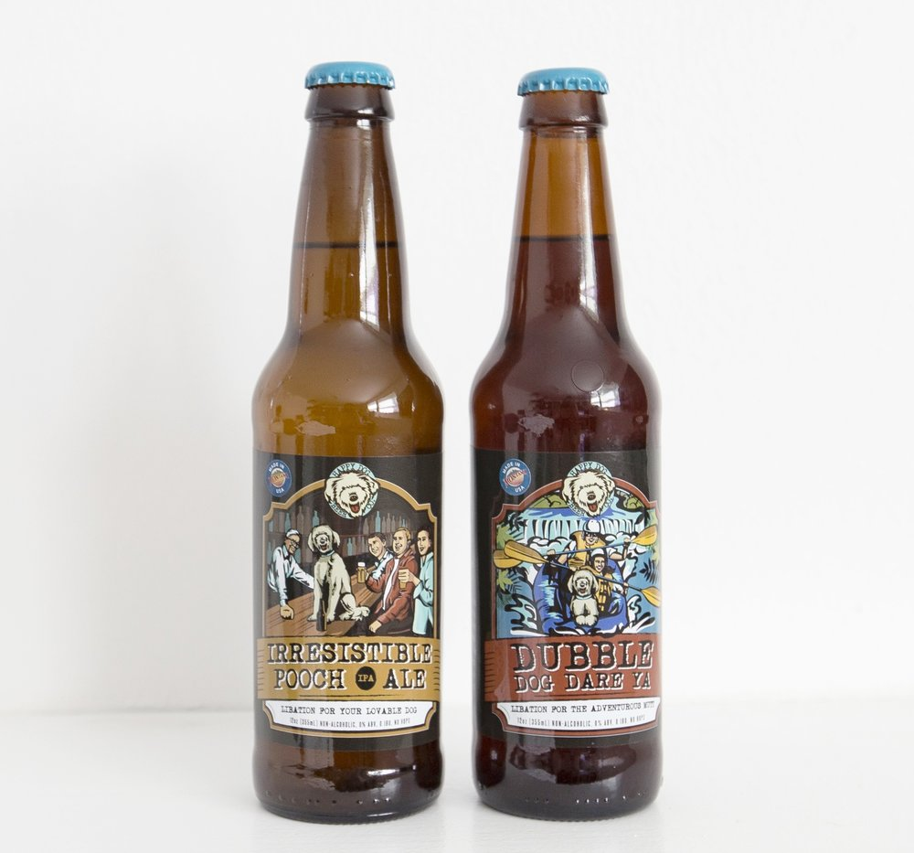 Two flavors: Irresistible Pooch Ale (IPA)-free range chicken & Dubble Dog Dare Ya- grassfed beef