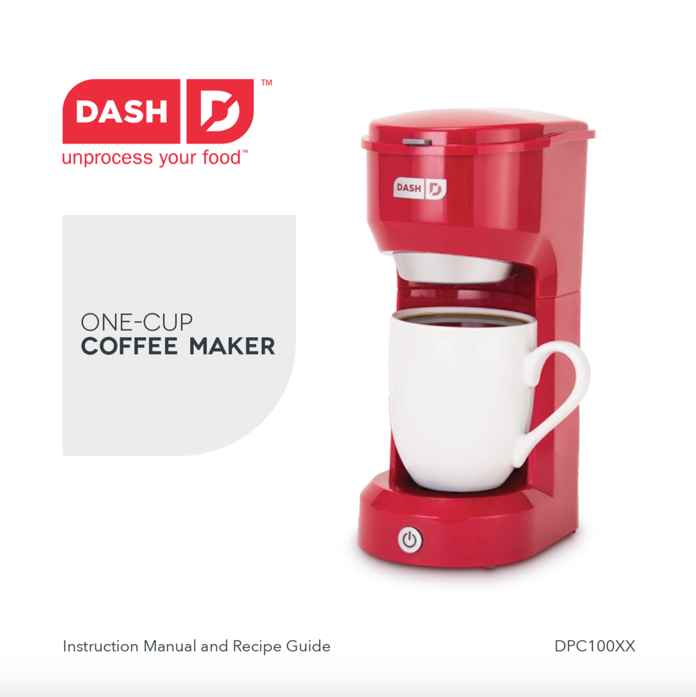 One Cup Coffee Maker Manual Dash