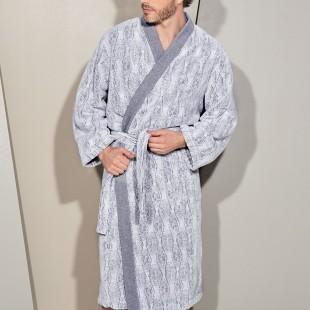 Grey pattern bathrobe