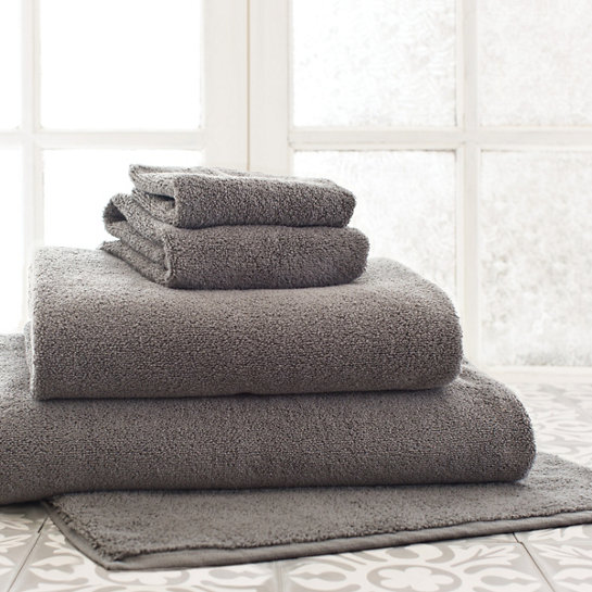 Stack of dark grey towels